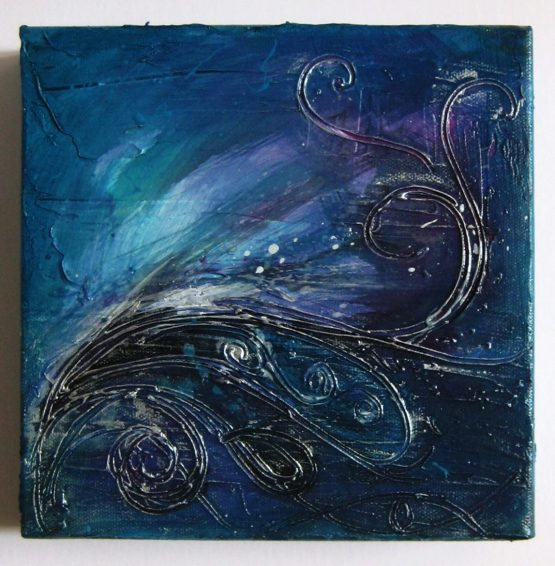Sway - Original Abstract Textured Painting on Canvas - Deep Turquoise and Silver, Circle and Flows