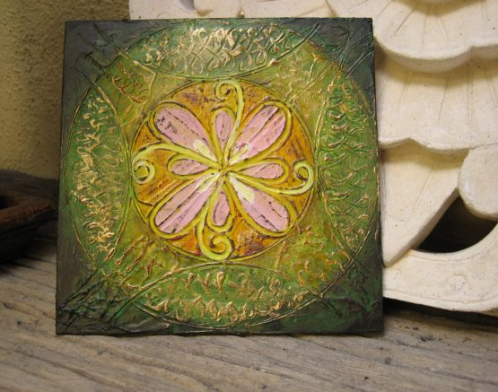 May 20 - Original Abstract Textured Painting on Recycle Mat Board 5x5 inch