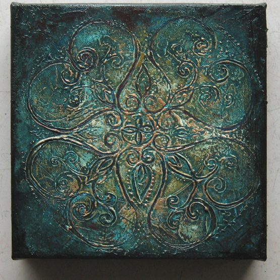 rusty turquoise - original textured acrylic painting