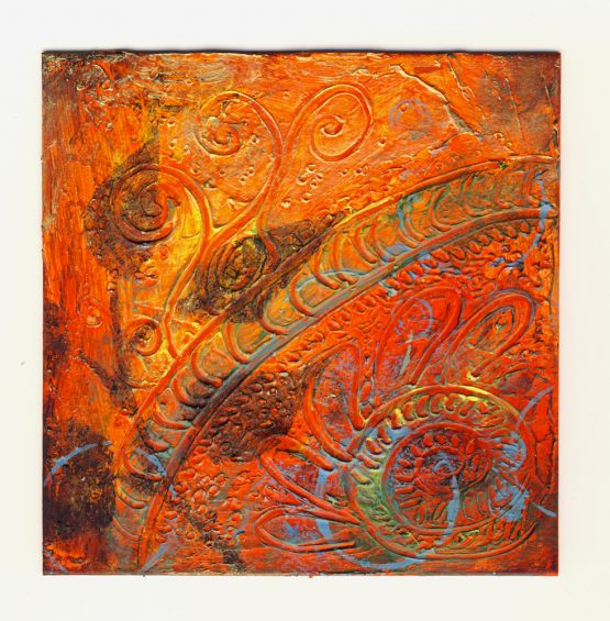 Nature II - Original Abstract Textured Painting on Recycled Mat Board