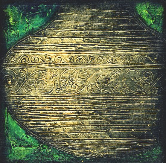 Mystic Golden Urn II - Original Textured Acrylic Painting on Canvas