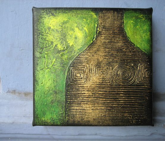 Mystic Golden Urn III - Original Textured Acrylic Painting on Canvas