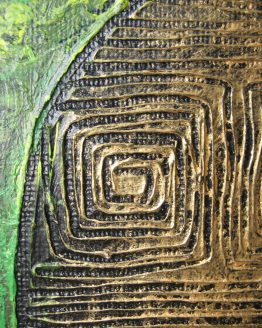 Mystic Golden Urn III - Original Textured Acrylic Painting on Canvas