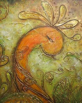 Landscape-With-Peacock - Acrylic Original Texture Painting on Canvas