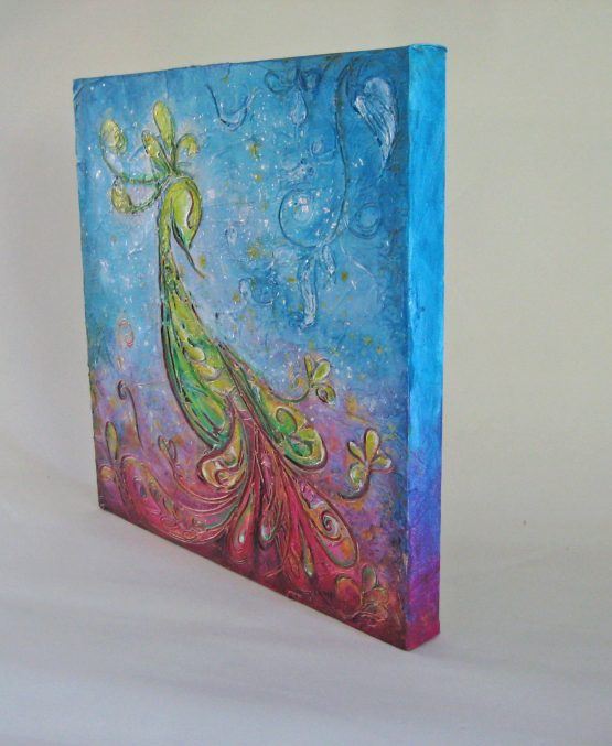 Aurora - Original Peacock Abstract Textured Painting on Canvas