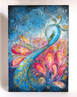 Flourish - Large Peacock Painting on Canvas