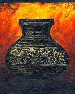Firery Urn I - Original Abstract Textured Painting on Canvas