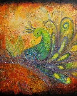 The Rising Peacock I - Large Acrylic Original Texture Painting on Canvas